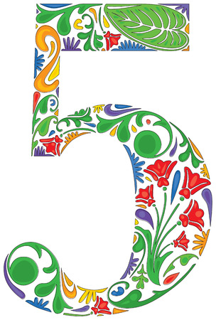 Number five made of floral elements Vector