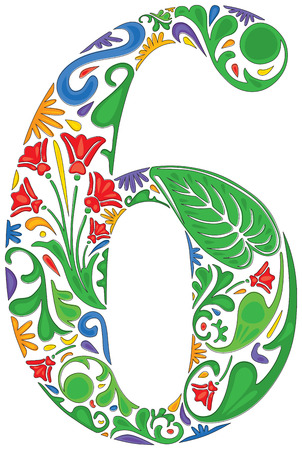 Number six made of floral elements Vector