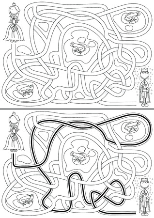 Princess in a search for frog prince - maze for kids with a solution Vector
