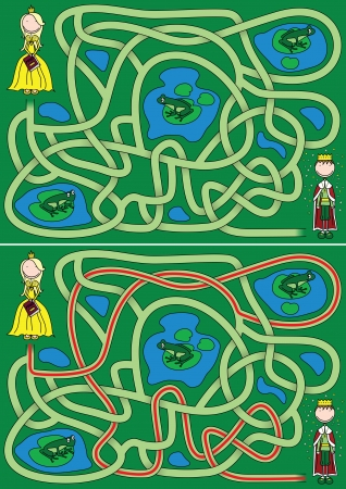 princess frog: Princess in a search for frog prince - maze for kids with a solution Illustration