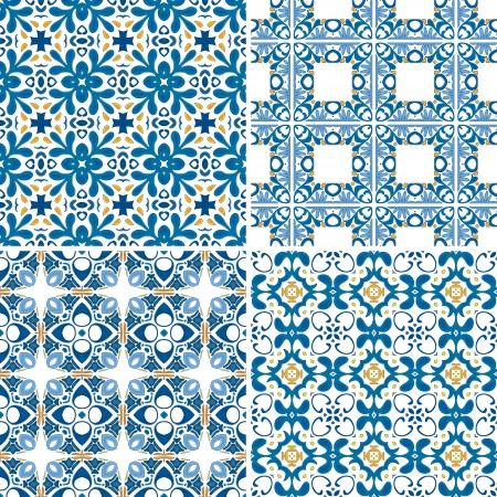 Set of four seamless patterns in blue and orange - like Portuguese tiles Vector