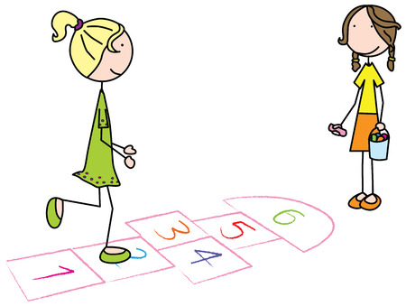 hopscotch: Cartoon illustration of two girls playing hopscotch Illustration