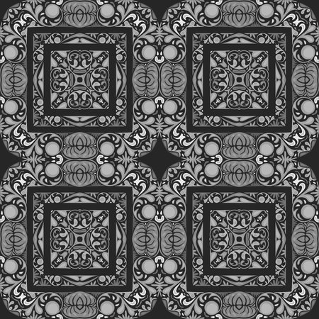 Seamless pattern illustration made of floral elements in shades of gray on dark gray background Vector