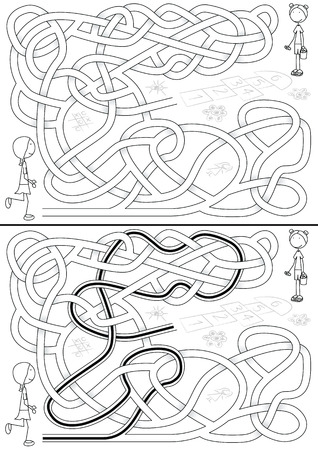 Girls playing hopscotch - maze for kids with a solution in black and white Vector
