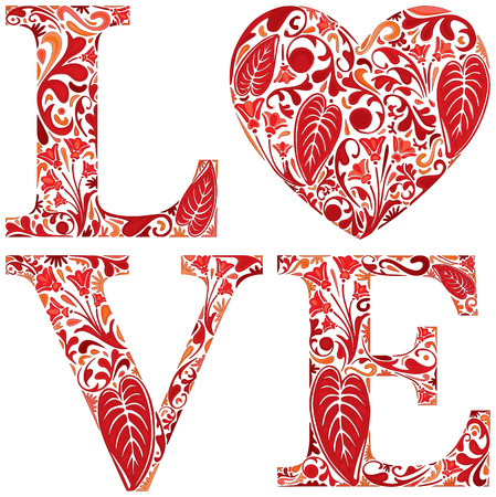 floral letters: Word love made of red floral letters and heart Illustration