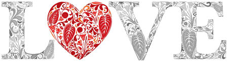 floral letters: Word love made of gray floral letters and red heart