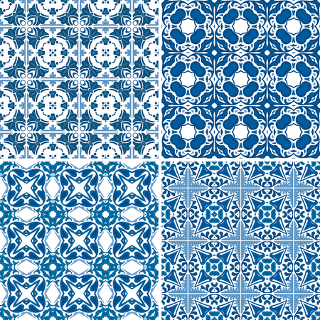 Set of four seamless pattern illustrations made of floral elements - like Portuguese tiles Vector