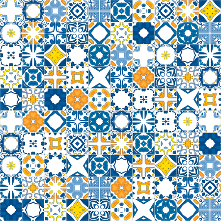 Seamless mosaic pattern made of llustrated tiles - like Portuguese tiles Çizim