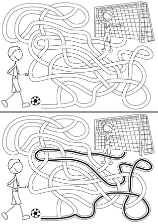 Football maze for kids with a solution in black and white Vector
