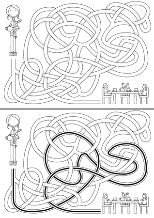 Little girl maze for kids with a solution in black and white Vector
