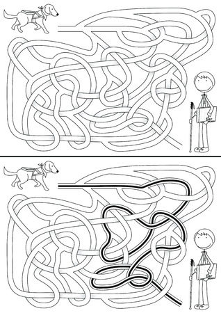 guide dog: Guide dog maze for kids with a solution in black and white