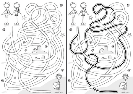 Summer maze for kids with a solution in black and white Vector