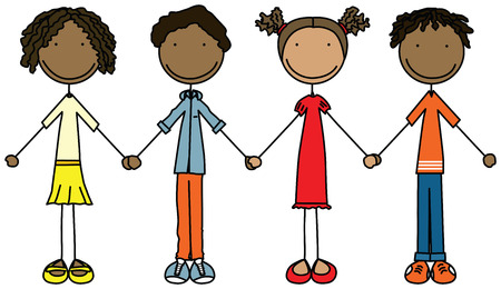 Illustratie van vier kinderen hand in hand en lacht