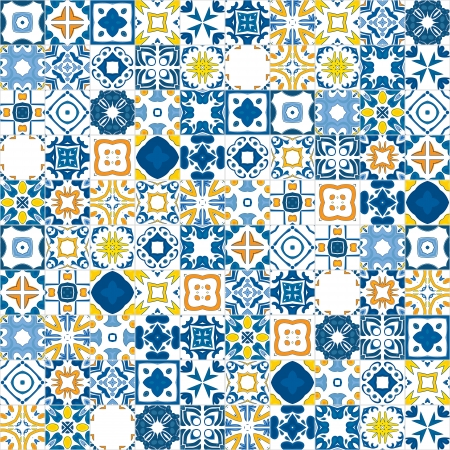spanish: Seamless mosaic pattern made of llustrated tiles - like Portuguese tiles Illustration