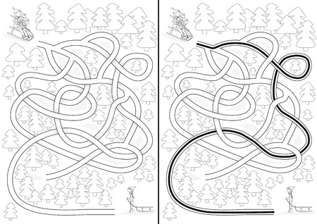 Winter maze for kids with a solution in black and white Vector