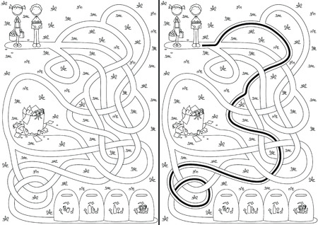 Recycling maze for kids with a solution in black and white Vector