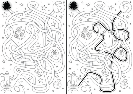 Space maze for kids with a solution in black and white