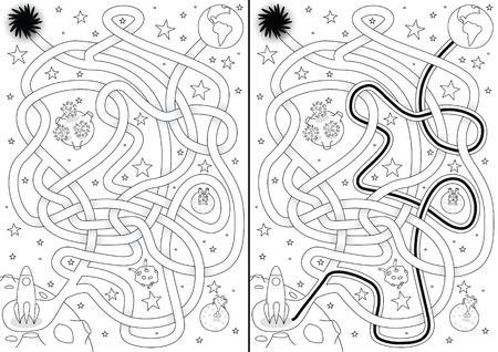 labyrinthe de l'espace pour les enfants avec une solution en noir et blanc Illustration
