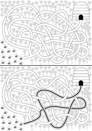 Bees maze for kids with a solution in black and white Vector