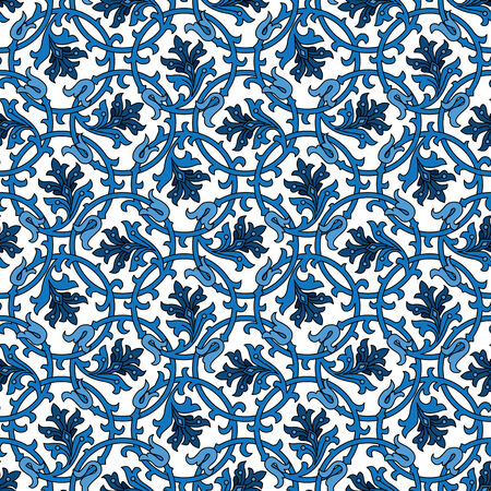 Seamless patterns made of blue floral ornaments on white Illustration