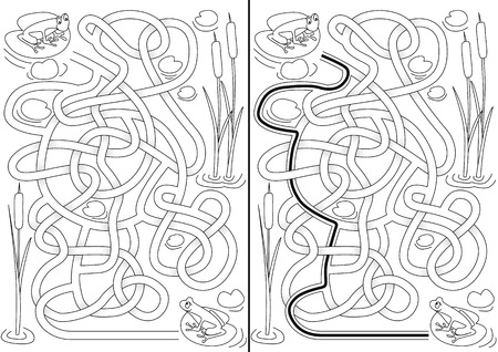 Frogs maze for kids with a solution in black and white Vector