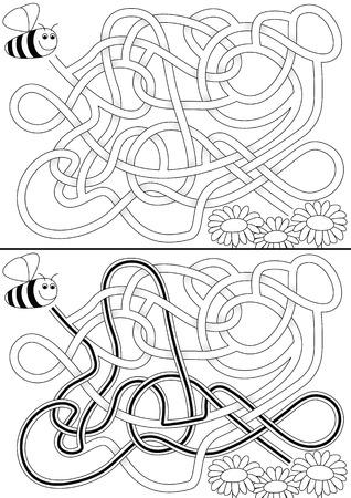 Bee labyrinthe pour les enfants avec une solution en noir et blanc
