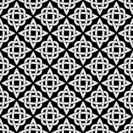 interlace: Seamless patterns made of black and white elemets Illustration
