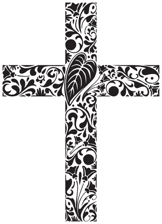 ornamented: Christian cross made of floral elements