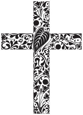 cruz cristiana: Cruz cristiana de los elementos florales