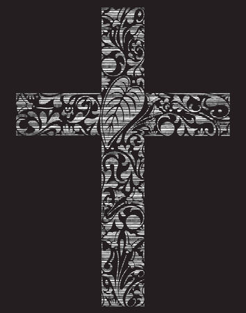 christian cross: Christian cross made of floral elements on black background