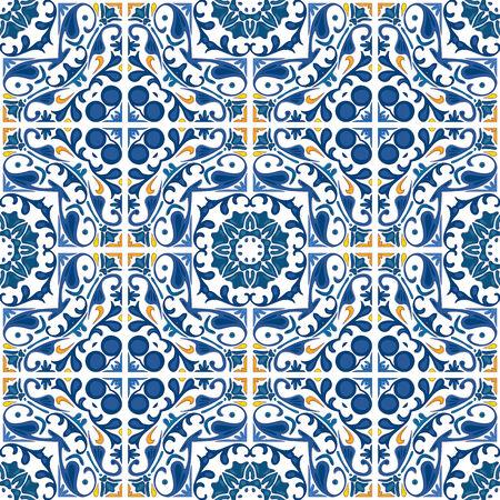 Naadloze patroon illustratie in blauw en oranje - achtige Portugese tegels