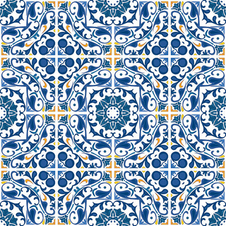 Seamless pattern illustration in blue and orange - like Portuguese tiles  Illustration