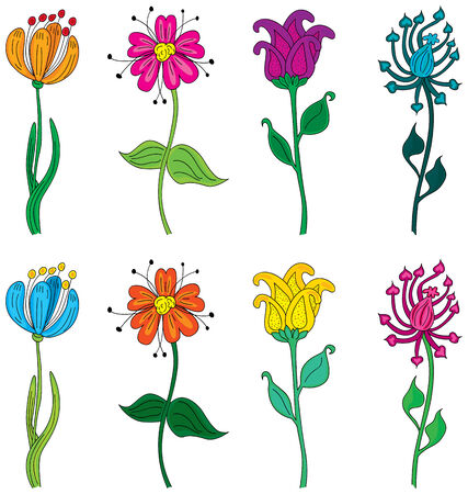 Set of four different illustrated flowers