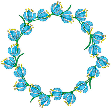 Illustrated wreath made of blue flowers
