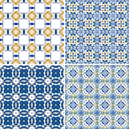 Set of four seamless pattern illustration in blue and orange  Vector