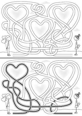 Love maze for kids with a solution in black and white Vector