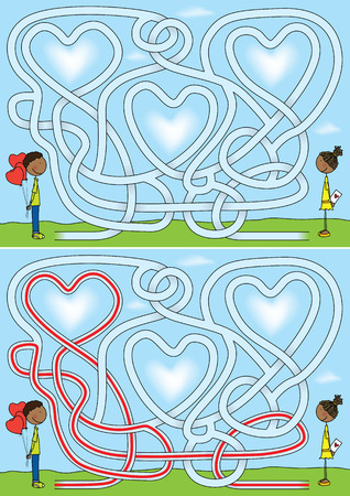 Love maze for kids with a solution Vector