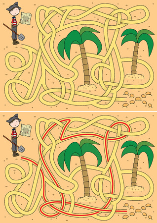 Pirate maze for kids with a solution Vector