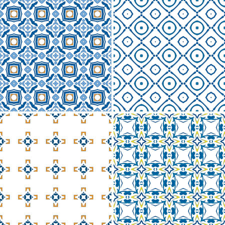 Set of four seamless pattern illustration in blue and orange - like Portuguese tiles Vector