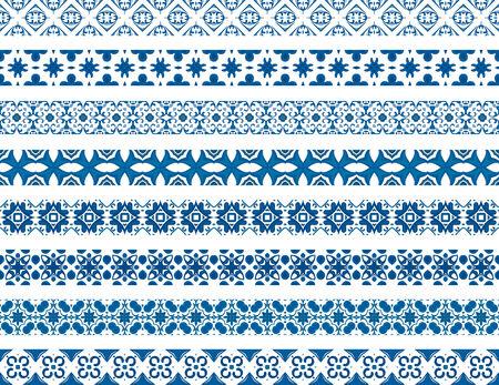 bordi decorativi: Set di otto bordi decorativi illustrati fatti di tegole portoghesi