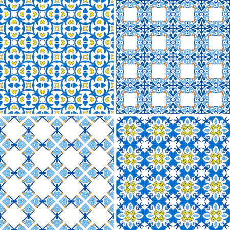 Set of four seamless pattern illustration in blue and white - like Portuguese tiles Vector