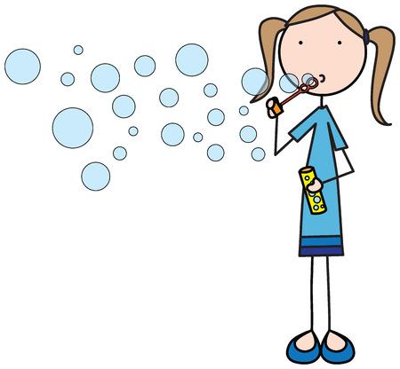 Ilustración de una niña soplando pompas de jabón Foto de archivo - 27320855