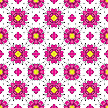 Seamless pattern made of pink floral elements on white