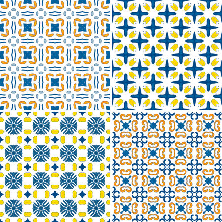 Set of four seamless pattern illustration in blue, orange and yellow - like Portuguese tiles Vector