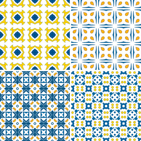 Set of four seamless pattern illustration - like Portuguese tiles Vector