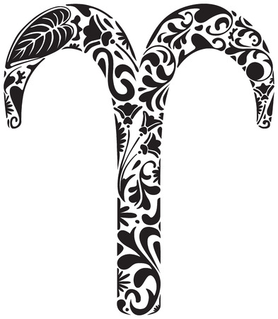 aries zodiac: Aries zodiac sign made of black floral elements Illustration