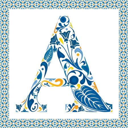 Letra mayúscula floral azul A en el marco de azulejos portugueses Vectores