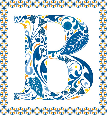 Blue floral capital letter B in frame made of Portuguese tiles Ilustração