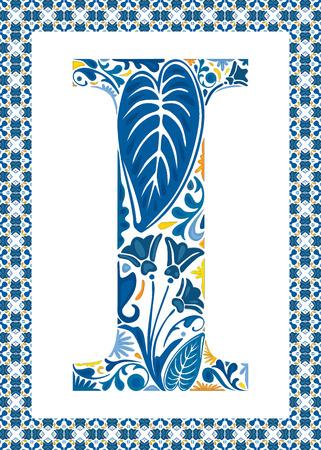 capital letter: Blue floral capital letter I in frame made of Portuguese tiles Illustration