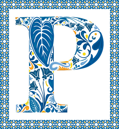 capital letter: Blue floral capital letter P in frame made of Portuguese tiles